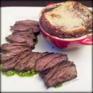 French Onion Soup with Arugula Pesto Steak